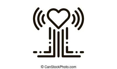 heart beat examination Icon Animation. black heart beat examination animated icon on white background