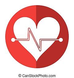 heart beat fitness symbol shadow