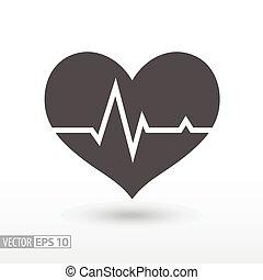 Heart beat - flat icon