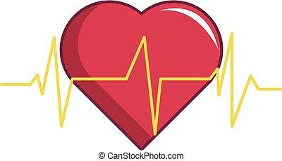 Heart beat icon, cartoon style