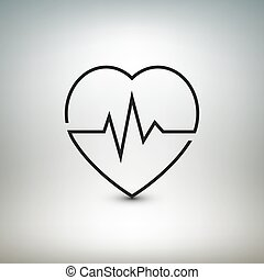 Heart beat icon, healthcare and medical vector illustration.