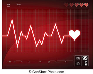 Illustration depicting a graph from a heart beat and a heart.