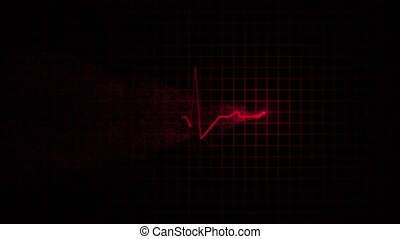 Heart beat line in red monitor - Red line of the cardiogram...