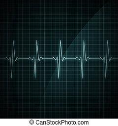 Heart Beat Monitor - Healthy heart beat on monitor screen. ...