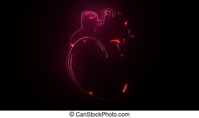 Heart Beat neon icon. Elements of Medecine set. Simple icon for websites, web design, mobile app, info graphics