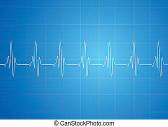 Heart Beat On Blue Background - Heart beat vector on blue...