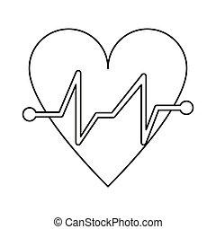 heart beat pulse cardiac medical thin line