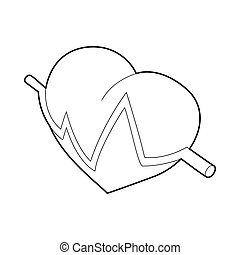 Heart beat pulse icon, outline style