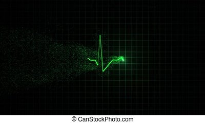 Heart beat pulse in green - Green line of the cardiogram...