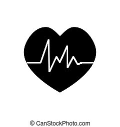 Heart beat rate icon, fitness and exercises concept on white background for your web site design, logo, app, UI.  illustration