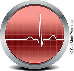 illustration of a round heart beat monitor with signal