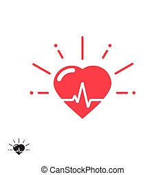 Heart beat vector icon with cheering rays, good healthy...