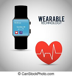 heart beat wearable technology watch device vector...