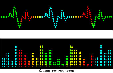 Heart beats and sound waves vector in the disco style