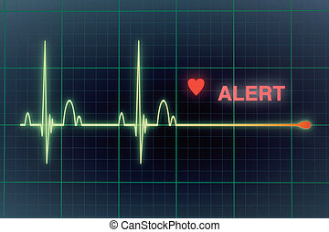 Heart beats cardiogram on the monitor. - Flat line alert on...