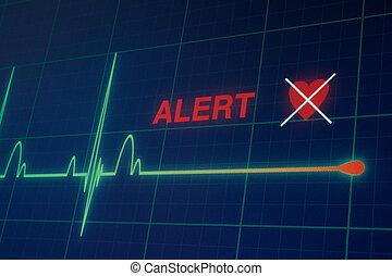Heart beats cardiogram on the monitor. - Flat line alert on ...