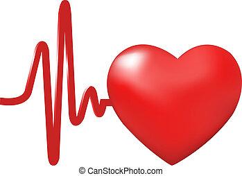 Heart Beats, Isolated On White Background, Vector Illustration