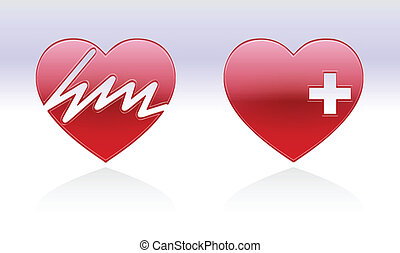 heart beats on a heart and a healty heart with reflection