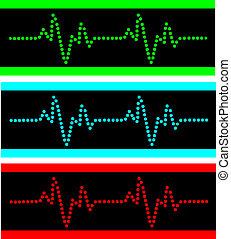 Heart beats vector - Cardiogram illustration in the disko...