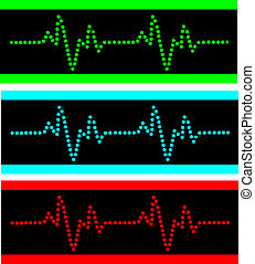 Heart beats vector - Cardiogram illustration in the disko...