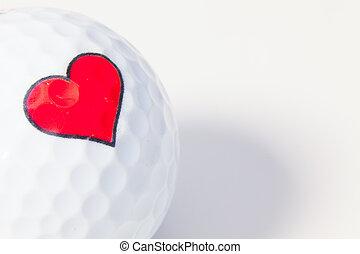 heart., biała piłka, golf, czerwony