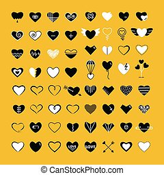 Heart big set icon flat white and black