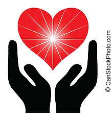 heart., bild, vektor, halten hände, rotes