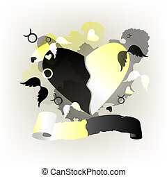 Heart black and white