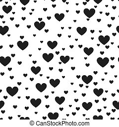 Heart black and white vector print background for website  love product wrap. Hearted seamless pattern