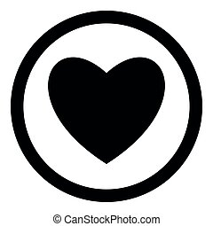 Heart black color icon in circle or round