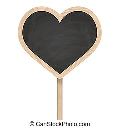 Heart blackboard standing on wooden post