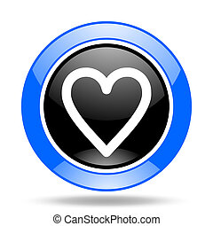 heart blue and black web glossy round icon