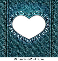 heart blue denim