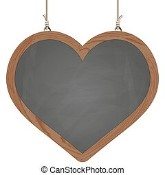 heart board hanging on ropes