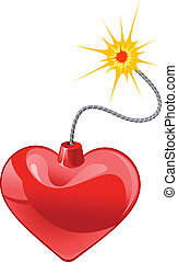 Red heart bomb isolated on white background