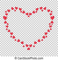Heart border made of red folded paper hearts with space for text