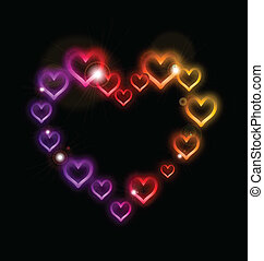 Heart Border with Sparkles. Vector