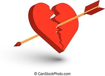 Heart, broken, arrow, vector, isolate.