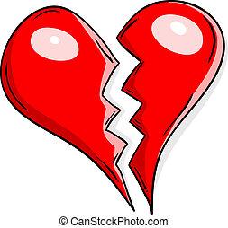 heart broken - Broken heart isolated on the white.