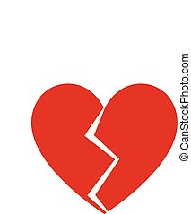 Heart broken flat design icon vector