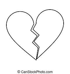 heart broken sad separation outline