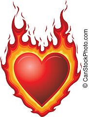 Illustration of a red heart shape with flames. Could represent heart burn or hot flaming love or passion.