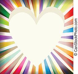 Heart burst background vector card
