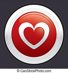 Heart button. Red round love sticker.