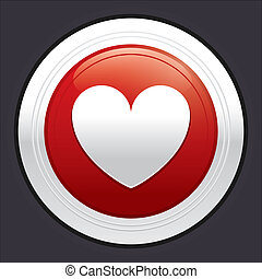Heart button. Red round sticker.
