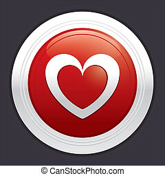 Heart button. Vector red round love sticker.