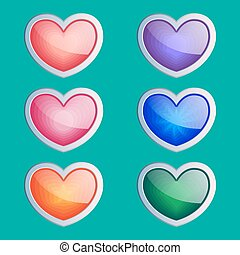 Heart buttons set, app icons with different color textures.