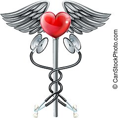 Heart Caduceus Stethoscope Medical Icon Concept