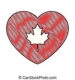 heart canadian flag emblem