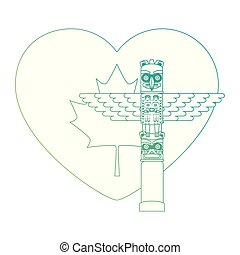 heart canadian flag with totem